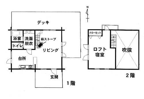 名阪国道のICから近い分譲地内にある本格ログハウス   ◎